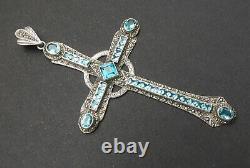 Huge Ancient Cross Massive Silver Hanging Marcassite - Swiss Topaz Of 14ct