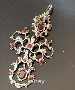 Hungarian Austro Pendant Silver Grenat Antique Hungarian Garnet During