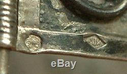 Important Antique Berber Bracelet In Sterling Silver North Africa Poincon Crab