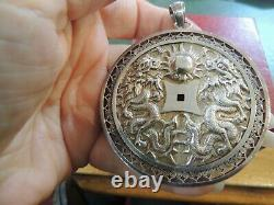 Important Antique Pendant Engraved In Solid Silver With Asian Symbols