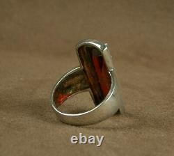Important Old Ring Tank In Silver Massive Sertie Grosse Pierre Red