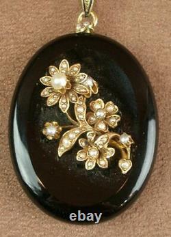Important Pendentif Ancien Onyx Perles - Or 18k 19th Napoleon III Reliquaire