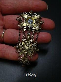 Interesting Jewel Old Enameled Type Regional Jewel In Christ Cross Silver Dore