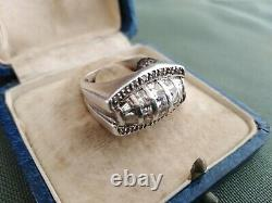 Jewel Old Art Deco Silver Ring Tank