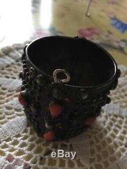 Kabyle Old Bracelet Silver And Enamel Coral Nineteenth. Ethnic
