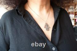 Khamsa Hand Pendant Of Fatma Solid Gold And Silver - Ancient Gold Jewel Diamond