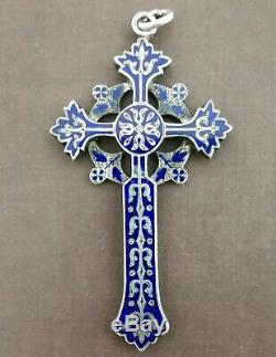 Large Cross Pendant Blue Enameled Old 19th In Sterling Silver