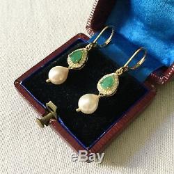 Long Earrings Splendid Old Doreilles Vermeil Emerald Pearl Baroque