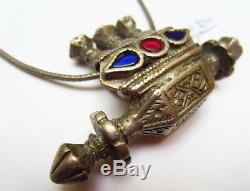 Magnificent Ancient Silver Necklace Pendant Carved Glass Paste India 19th