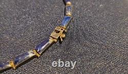 Magnificent Antique Art Deco Necklace Silver Massif And Lapis-lazuli In Box 950