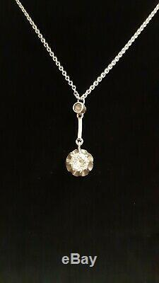 Magnificent Old Art Deco Necklace In Silver
