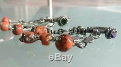 Morocco Old Earrings Berber Maghreb, Silver, Natural Coral