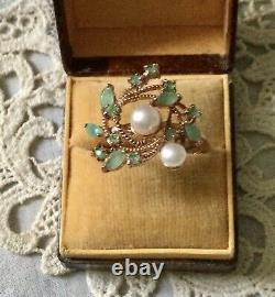 Natural Emerald, Perl, Vermeil Or Rose Argent Ancienne Bague Couture