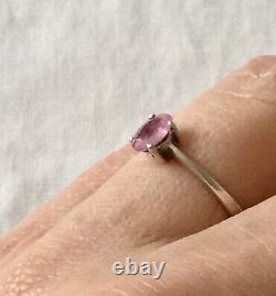 Natural Sapphire Rose Ancient Ring In Massive Silver, Art Deco