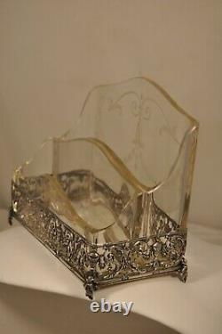 Necessary Office Old Silver Massive Antique Crystal Solid Silver Office Set
