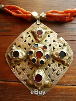 Necklace Coral Beads Morocco Old Antique Silver Pendants Moroccan Necklace