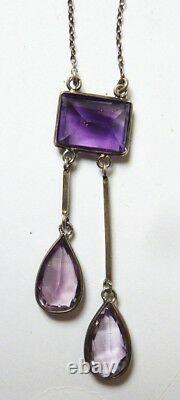 Necklace In Solid Silver + Amethysts Silver Antique Jewel Necklace