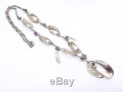 Necklace Old Mistletoe Leaves Sterling Silver Vermeil Pearls Art Nouveau 1900