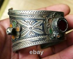 Niellé Silver Bracelet Former Email Moroccan Ancient Moroccan Berber Silver Bangle