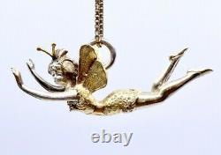 Old Art Nouveau Fairy Charm Pendant In Solid Silver Vermeil 1900