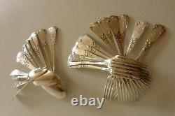 Old Art Nouveau Solid Silver Covers Monogrammed 24 Pieces / Ref 230 B/et