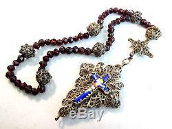 Old Bavarian Silver Sterling Silver Filigree Enamel Beads Garnet Germany XIX