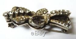 Old Brooch Silver Massive And Rhinestone Brooch Clip She Makes Processing