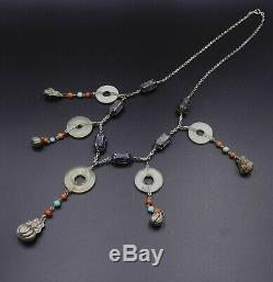 Old Chinese Chain Sterling Silver Enameled & Dragon Pearl Necklace Jade Bi
