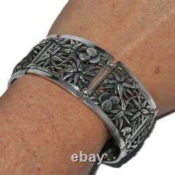 Old Cuff Bracelet In Solid Silver 925 Flower Edelweiss Jewel
