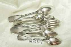 Old Cutlery Set In Sterling Silver Minerva Model Filet 500g