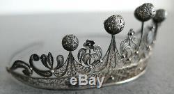 Old Diadem Tiara Crown Sterling Silver Filigree Berbere Tunisia Goldsmith