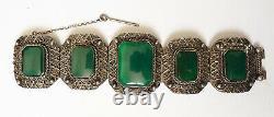 Old Ethnic Bracelet Solid Silver - Green Stone Silver Bracelet