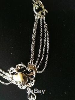 Old Hunting Necklace Sterling Silver With 2 Deer Teeth Trophy Treasure
