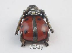 Old Ladybug Gem Miniature Sterling Silver Opaline Art Nouveau
