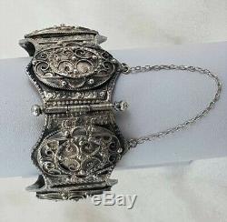 Old Large Gem Oriental Bracelet Cuff 86 G Silver Book Q150