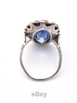 Old Marquise Ring In Solid Silver Marcasites And Blue Stone 1900 T50