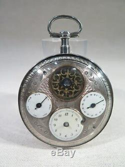 Old Nice Watch A Man Quantieme Gusset Silver Stick Visible Empire