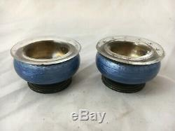 Old Pair Saleron Saliere Poivriere 925 Sterling Silver Enamel Silver Salt