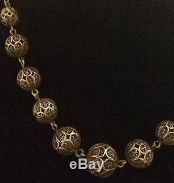 Old Pearl Filigree Necklace In Sterling Silver