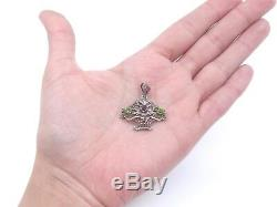 Old Pendant Flower Basket Solid Silver Marcasite Stones And 1900
