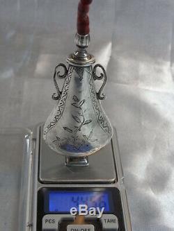 Old Rare Perfume Bottle Fiol Khol Kol Tabatiere Jack Sterling Silver Coral