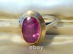 Old Ring Art Deco Silver & Rose Gold Pink Size 51 Approx Spinel