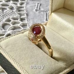 Old Serpent Ring In Vermeil, Natural Ruby, Silver Gold