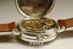 Old Shows Dent 35mm Silver 1900 Rare Silver Center Seconds Vintage Watch