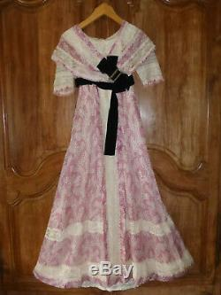 Old Silk Gown + Lace Dress + Large Silver Buckle - 1st Half 19th