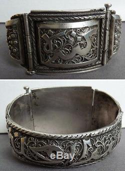 Old Silver Bracelet Maghreb Colonial Kabylia 83gr Silver Bracelet