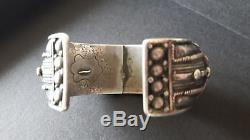 Old Silver Bracelet Massive Ethnic Origin, Vintage Silver Cuff, Yemen