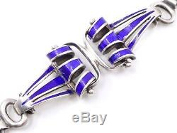 Old Silver Bracelet Vintage Blue And Email Years 60/70