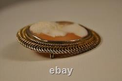 Old Silver Brooch Ancient Massive Shell Cameo Solid Silver