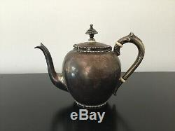 Old Silver Teapot 19th British Victoria Era Seal Lion